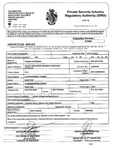 Ghost Security PSIRA Certificate for Inspection 2013